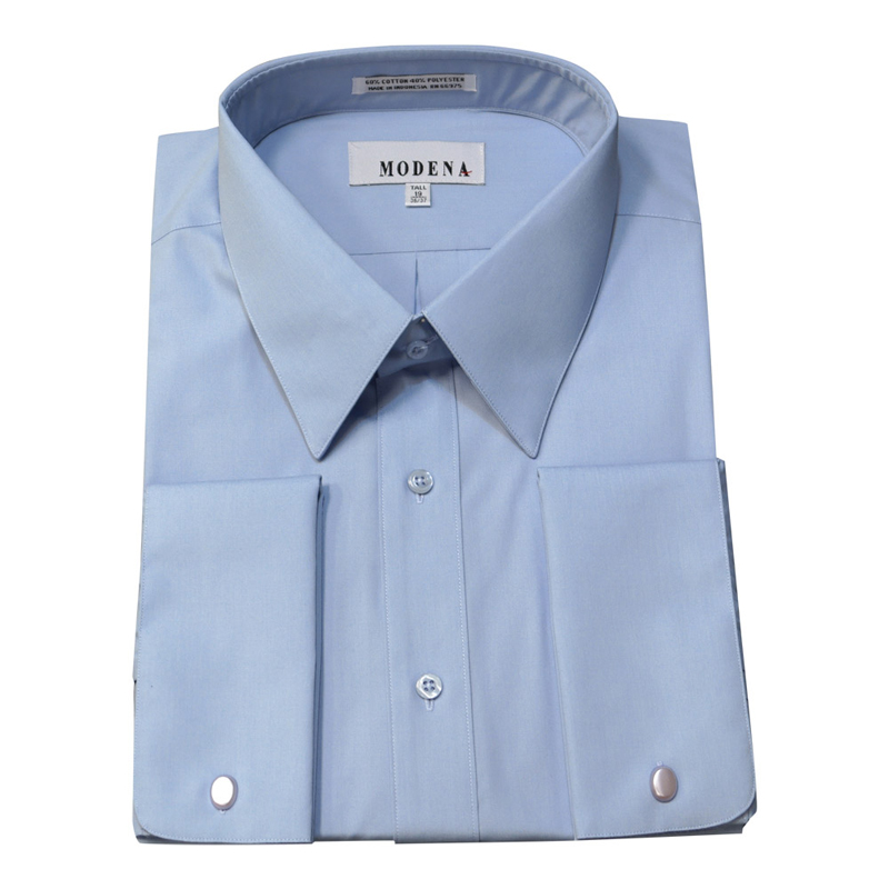 Martin 39 s big and tall dress shirts modena french for Light blue french cuff dress shirt