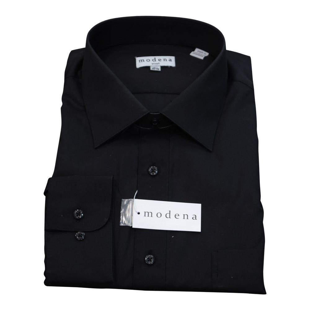 Modena Extra Full Body Long Sleeve Black Dress Shirt