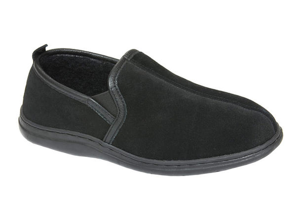 LB. Evans Klondike Boa Lined Black Slipper