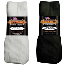 Extra Wide 3-pack Tube Socks