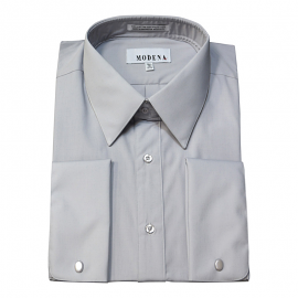 Modena French Cuff Silver Dress Shirt