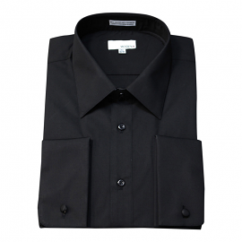 Modena French Cuff Black Dress Shirt