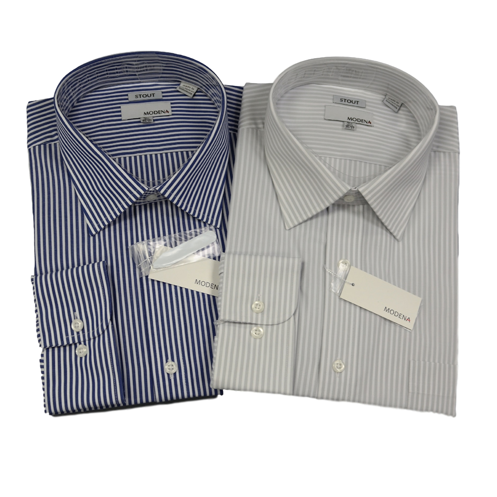 Modena Extra Full Body Long Sleeve Stripe Dress Shirt