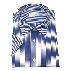 Modena Short Sleeve Blue Stripe Dress Shirt