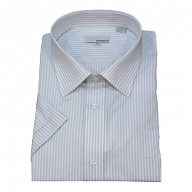 Modena Short Sleeve Grey Stripe Dress Shirt
