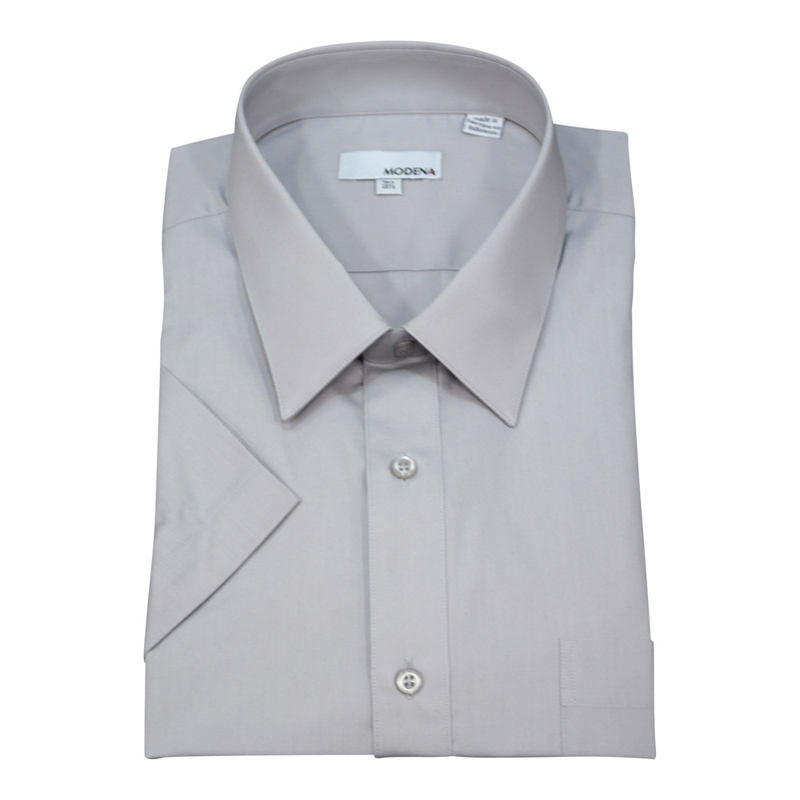 Modena Short Sleeve Silver Dress Shirt