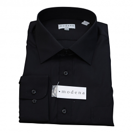Modena Extra Full Body Long Sleeve Black Dress Shirt