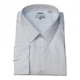 Modena Extra Full Body Long Sleeve White Dress Shirt